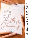 end of summer.child drawing of... | Shutterstock . vector #1179513862