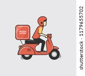 pizza delivery boy riding red... | Shutterstock .eps vector #1179655702