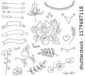 set. hand drawing. wedding....   Shutterstock .eps vector #1179687118