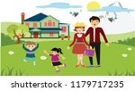 happy family theme playful... | Shutterstock . vector #1179717235