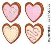 valentine day cookie set. heart ... | Shutterstock .eps vector #1179727702