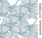 seamless pattern with goldfish. | Shutterstock .eps vector #1179730042