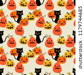 cute black cat and halloween... | Shutterstock .eps vector #1179744685