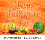 text happy thanksgiving day... | Shutterstock . vector #1179752938
