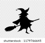 black silhouette of witch in... | Shutterstock .eps vector #1179766645