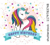 unicorn with a rainbow vector.... | Shutterstock .eps vector #1179783748