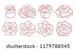 Stock vector set of outline roses blooms isolated on white background top and side view vector hand drawn 1179788545