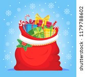santa claus gifts in bag.... | Shutterstock .eps vector #1179788602