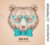 retro hipster animal bear. hand ... | Shutterstock .eps vector #1179809608
