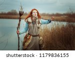pagan woman is a shaman with a... | Shutterstock . vector #1179836155