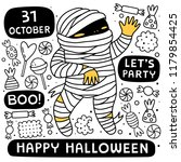 halloween background with mummy.... | Shutterstock .eps vector #1179854425
