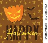 happy halloween pumpkin... | Shutterstock .eps vector #1179863965