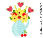 bouquet with fruits and berries ... | Shutterstock . vector #1179907972