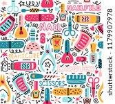 manicure seamless pattern. nail ... | Shutterstock . vector #1179907978