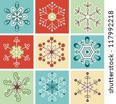 retro snowflakes  christmas... | Shutterstock .eps vector #117992218