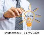idea or innovation change problem to solution concept - stock photo