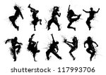 grunge people silhouettes.... | Shutterstock .eps vector #117993706