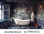 Vintage Bathtub In Grunge...