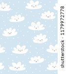 cute hand drawn smiling clouds... | Shutterstock .eps vector #1179972778