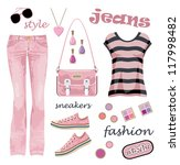 jeans fashion set. raster... | Shutterstock . vector #117998482