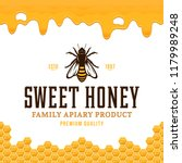 vector honey logo with bee ... | Shutterstock .eps vector #1179989248