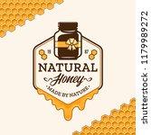 vector honey logo with jar ... | Shutterstock .eps vector #1179989272