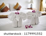 towels with elephant shape lay... | Shutterstock . vector #1179991552