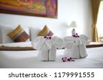 towels with elephant shape lay... | Shutterstock . vector #1179991555