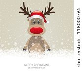 reindeer with red hat brown... | Shutterstock .eps vector #118000765