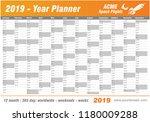 year planner calendar 2019  ... | Shutterstock .eps vector #1180009288