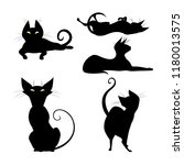 set of silhouettes of black cat ... | Shutterstock .eps vector #1180013575