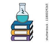 pile text books with tube test | Shutterstock .eps vector #1180029265