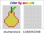 worksheet.  pear   puzzle task  ... | Shutterstock .eps vector #1180042348