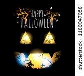 happy halloween  face ghost in... | Shutterstock .eps vector #1180047058