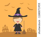 cute witch with broom in a... | Shutterstock .eps vector #1180071955
