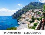 scenic positano  amalfi coast ... | Shutterstock . vector #1180085908