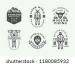 set of vintage snowboarding ... | Shutterstock . vector #1180085932