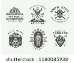 set of vintage snowboarding ... | Shutterstock . vector #1180085938