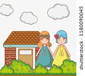 hippies couple at garden | Shutterstock .eps vector #1180090045