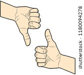 thumb up and down. i like and... | Shutterstock .eps vector #1180094278