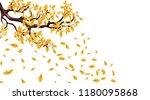 yellow autumn branch of an oak... | Shutterstock .eps vector #1180095868