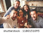 friends having fun and making... | Shutterstock . vector #1180151095