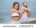 young bodibuilder man and woman ... | Shutterstock . vector #1180204075