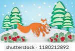 winter landscape with a red fox ... | Shutterstock .eps vector #1180212892