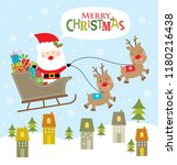 santa claus with sleigh and... | Shutterstock .eps vector #1180216438