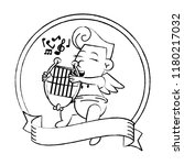 cupid with harp on round emblem ... | Shutterstock .eps vector #1180217032