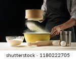 bakery. man preparing bread ... | Shutterstock . vector #1180222705