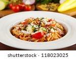 vegeterian  pasta | Shutterstock . vector #118023025