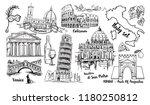 italy landmark  sketch set.... | Shutterstock . vector #1180250812