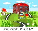 vivid farmland  colored farm... | Shutterstock .eps vector #1180254298
